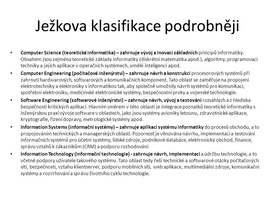 Ježkova klasifikace podrobněji Computer Science (teoretická informatika) – zahrnuje vývoj a inovaci základních principů informatiky.