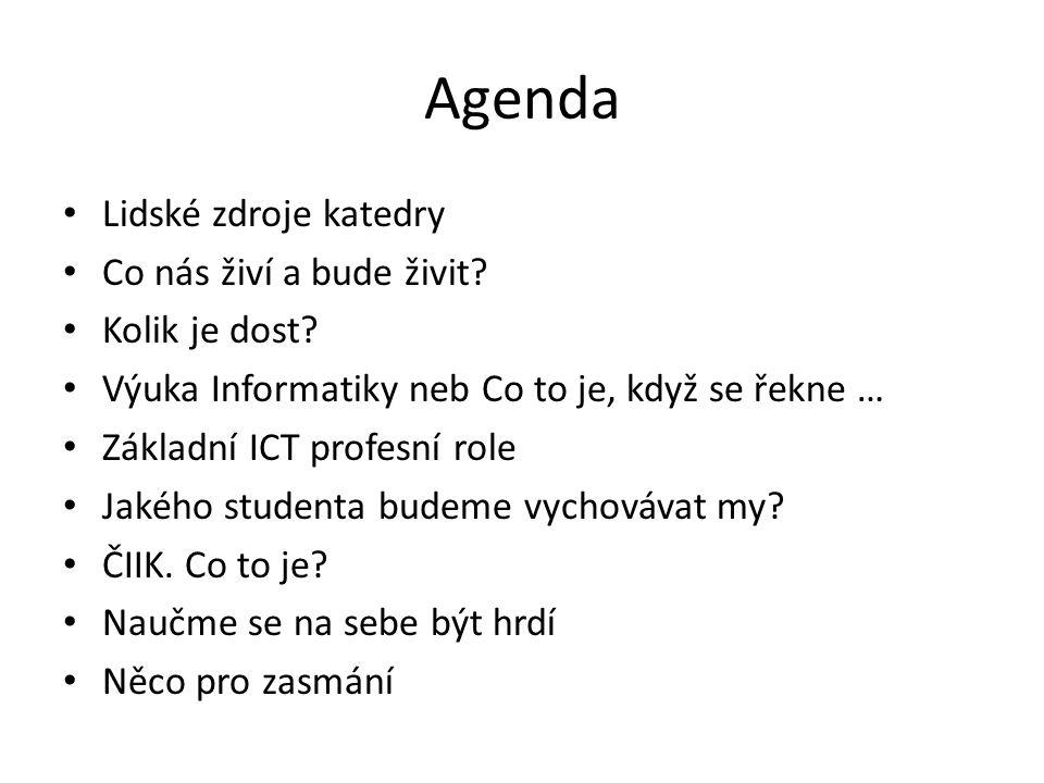 Agenda Lidské zdroje katedry Co nás živí a bude živit? Kolik je dost? Výuka Informatiky neb Co to je, když se řekne … Základní ICT profesní role Jakéh