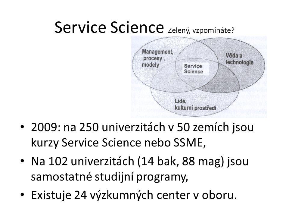 Service Science Zelený, vzpomínáte? 2009: na 250 univerzitách v 50 zemích jsou kurzy Service Science nebo SSME, Na 102 univerzitách (14 bak, 88 mag) j