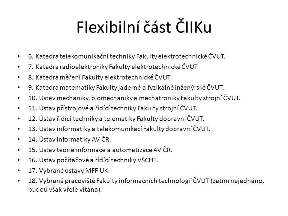 Flexibilní část ČIIKu 6. Katedra telekomunikační techniky Fakulty elektrotechnické ČVUT. 7. Katedra radioelektroniky Fakulty elektrotechnické ČVUT. 8.