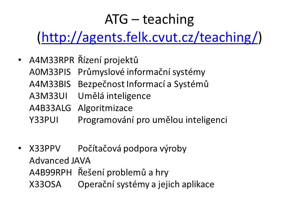 ATG – teaching (http://agents.felk.cvut.cz/teaching/)http://agents.felk.cvut.cz/teaching/ A4M33RPRŘízení projektů A0M33PISPrůmyslové informační systémy A4M33BISBezpečnost Informací a Systémů A3M33UIUmělá inteligence A4B33ALGAlgoritmizace Y33PUIProgramování pro umělou inteligenci X33PPVPočítačová podpora výroby Advanced JAVA A4B99RPHŘešení problemů a hry X33OSAOperační systémy a jejich aplikace