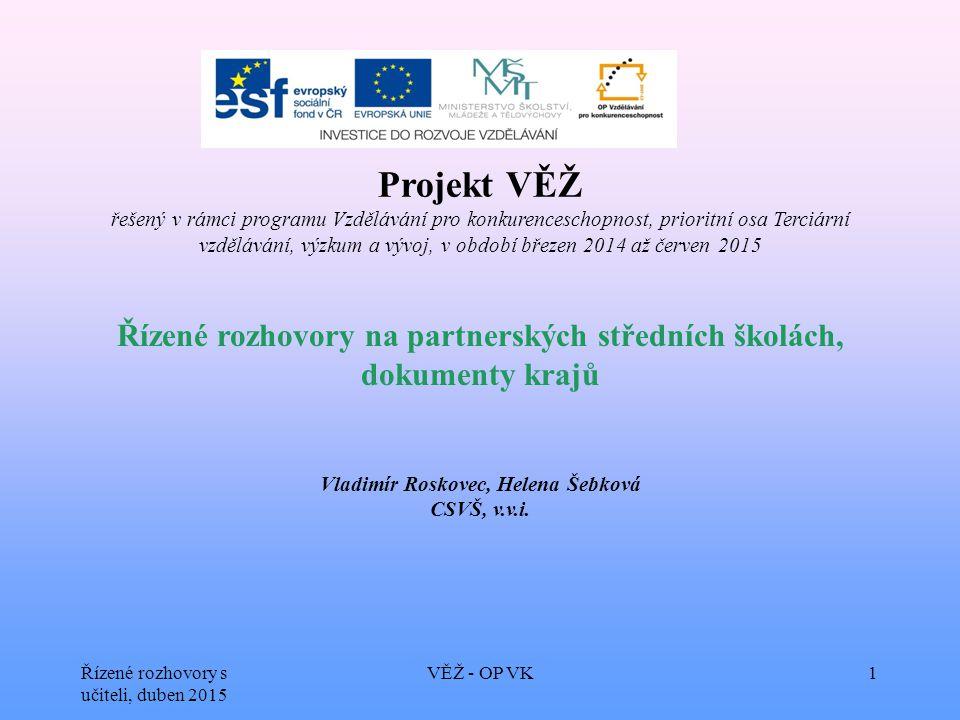 Řízené rozhovory s učiteli, duben 2015 VĚŽ - OP VK1 Projekt VĚŽ řešený v rámci programu Vzdělávání pro konkurenceschopnost, prioritní osa Terciární vz