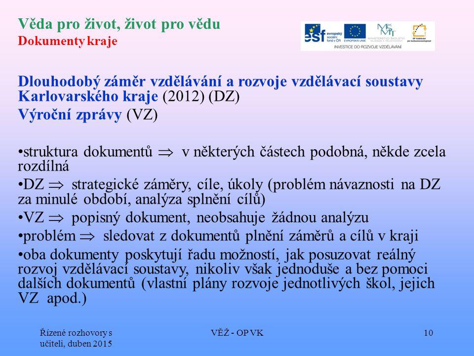 Věda pro život, život pro vědu Dokumenty kraje Dlouhodobý záměr vzdělávání a rozvoje vzdělávací soustavy Karlovarského kraje (2012) (DZ) Výroční zpráv