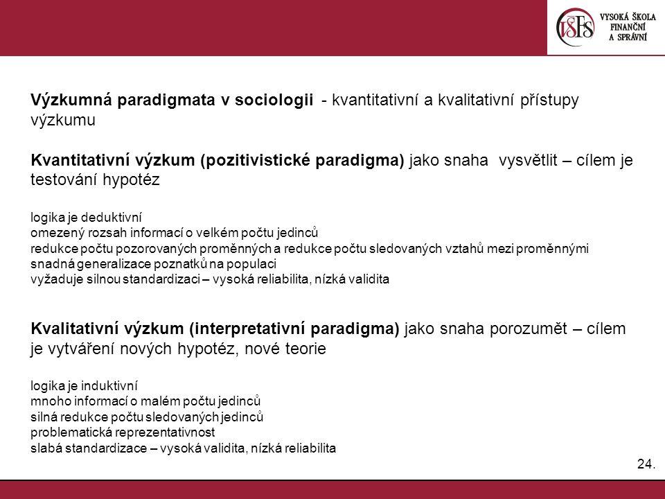 24. Výzkumná paradigmata v sociologii - kvantitativní a kvalitativní přístupy výzkumu Kvantitativní výzkum (pozitivistické paradigma) jako snaha vysvě