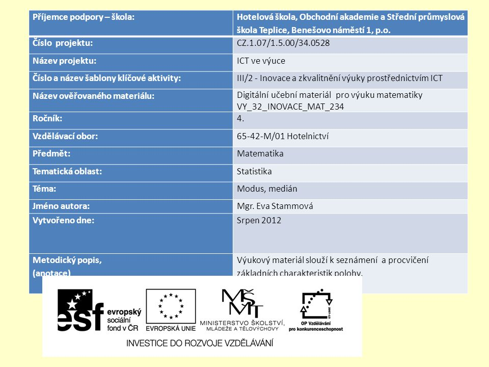 Příklad: Tabulka udává počet neomluvených hodin ve třídách HŠ 4 za jeden měsíc.