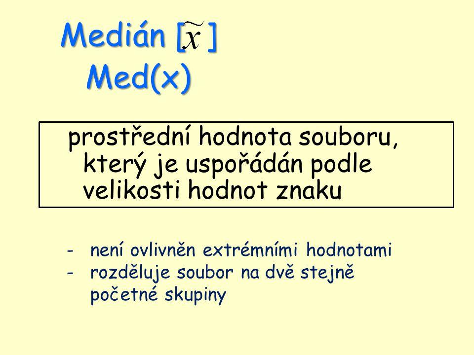 Medián [ ] Med(x) prostřední hodnota souboru, který je uspořádán podle velikosti hodnot znaku -není ovlivněn extrémními hodnotami -rozděluje soubor na dvě stejně početné skupiny