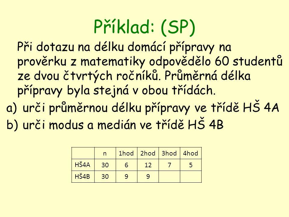 Příklad: (SP) Při dotazu na délku domácí přípravy na prověrku z matematiky odpovědělo 60 studentů ze dvou čtvrtých ročníků.