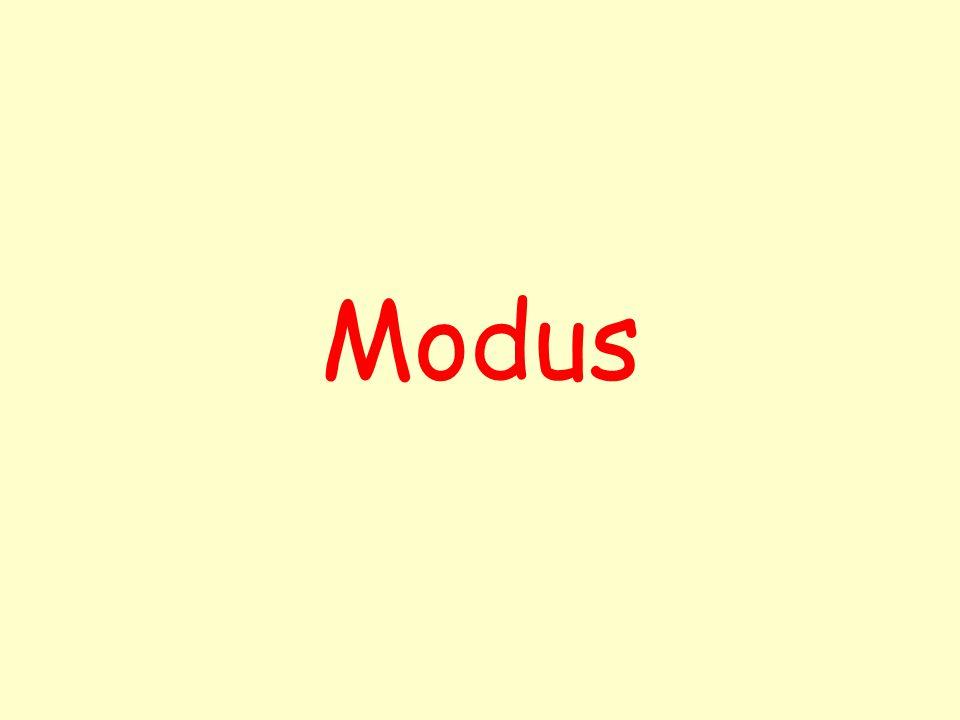 Modus [ ] Mod(x) hodnota znaku s největší četností (z latiny míra, forma) -lze ho použít i pro nečíselná data -důležitá veličina pro obchodníky