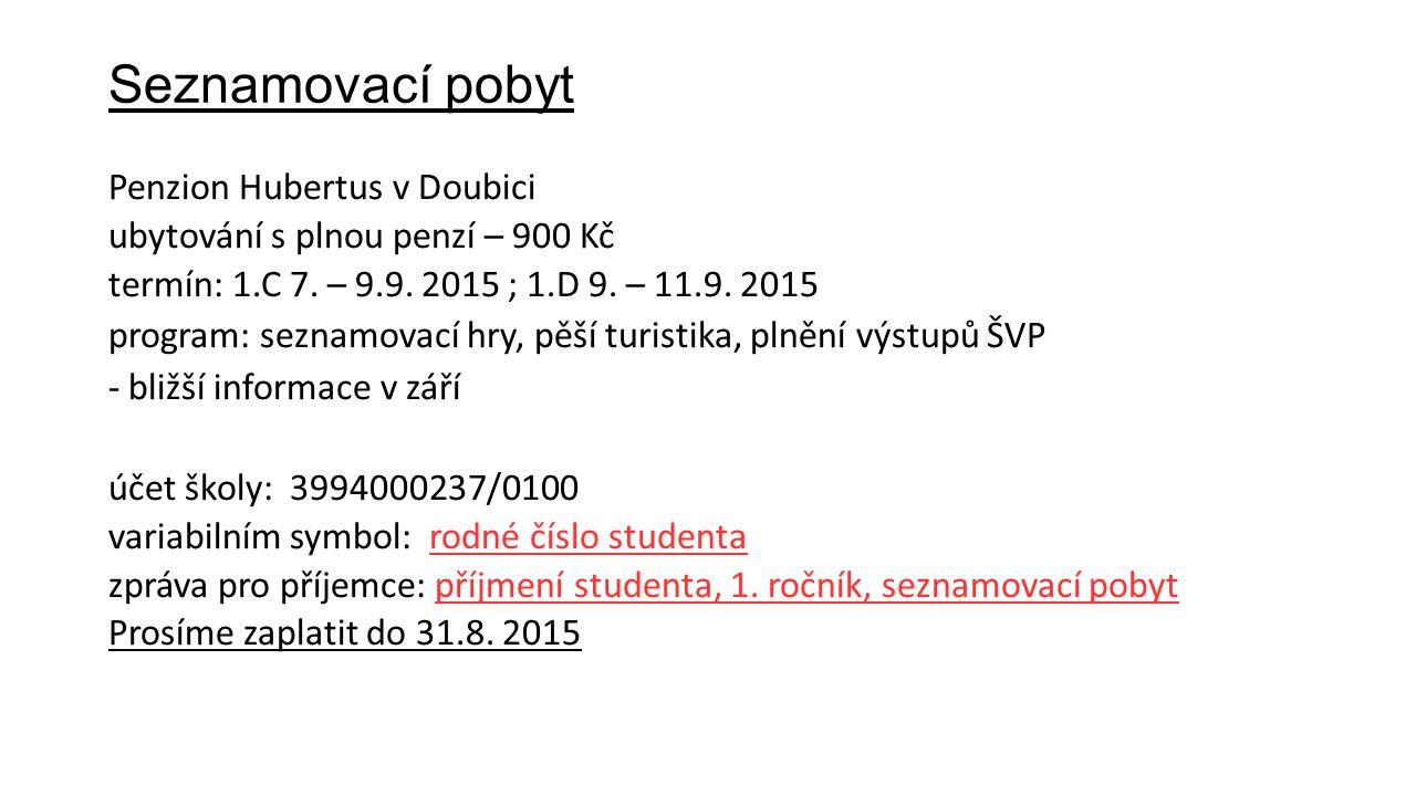 Seznamovací pobyt Penzion Hubertus v Doubici ubytování s plnou penzí – 900 Kč termín: 1.C 7. – 9.9. 2015 ; 1.D 9. – 11.9. 2015 program: seznamovací hr