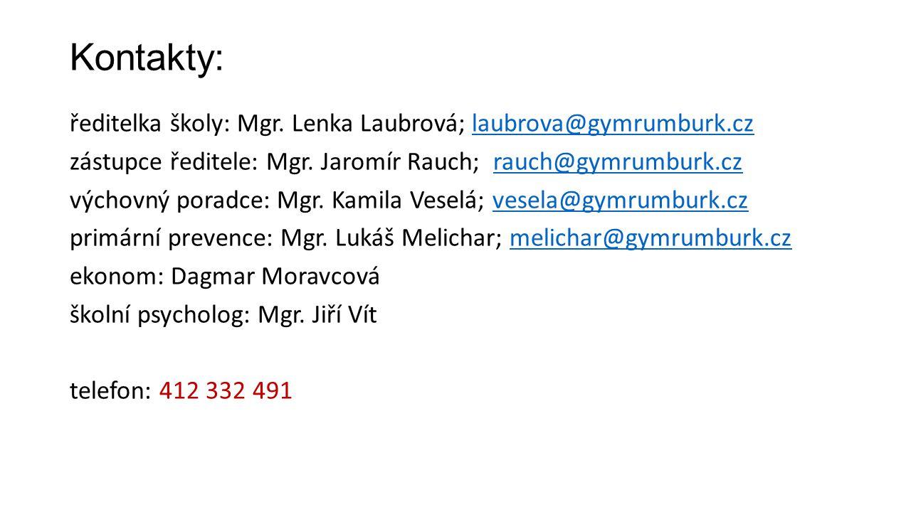 Kontakty: ředitelka školy: Mgr. Lenka Laubrová; laubrova@gymrumburk.czlaubrova@gymrumburk.cz zástupce ředitele: Mgr. Jaromír Rauch; rauch@gymrumburk.c