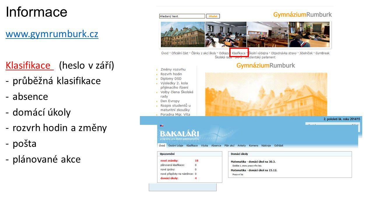 Informace www.gymrumburk.cz Klasifikace (heslo v září) -průběžná klasifikace -absence -domácí úkoly -rozvrh hodin a změny -pošta -plánované akce