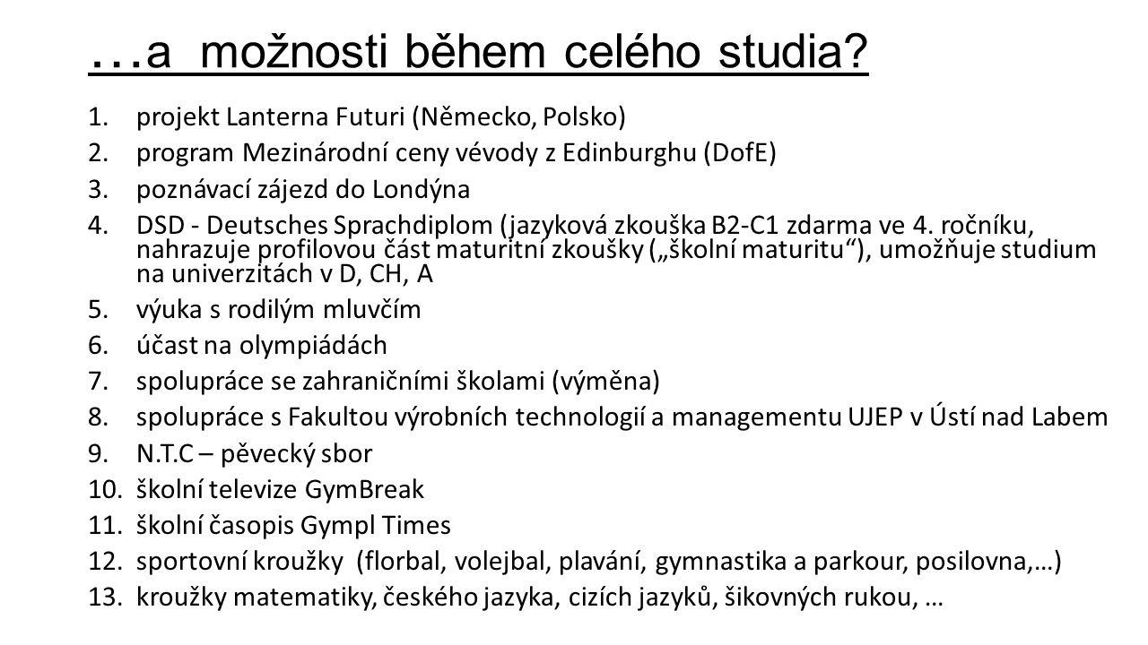 … a možnosti během celého studia? 1.projekt Lanterna Futuri (Německo, Polsko) 2.program Mezinárodní ceny vévody z Edinburghu (DofE) 3.poznávací zájezd
