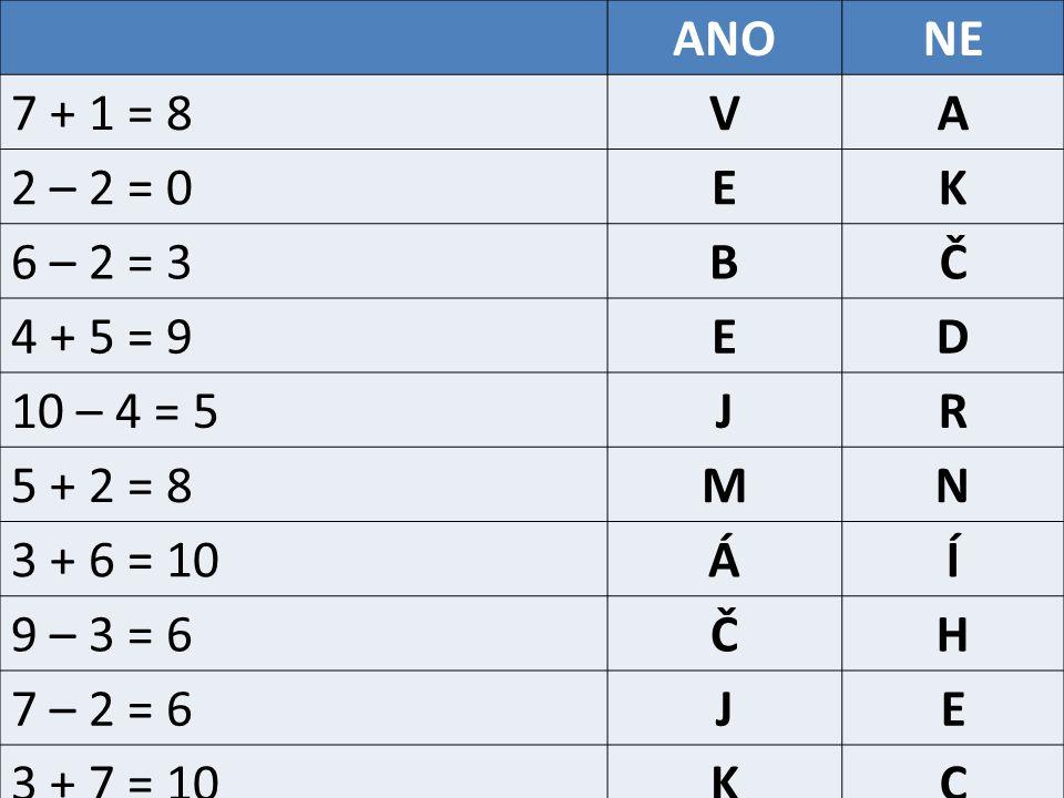 ANONE 7 + 1 = 8VA 2 – 2 = 0EK 6 – 2 = 3BČ 4 + 5 = 9ED 10 – 4 = 5JR 5 + 2 = 8MN 3 + 6 = 10ÁÍ 9 – 3 = 6ČH 7 – 2 = 6JE 3 + 7 = 10KC