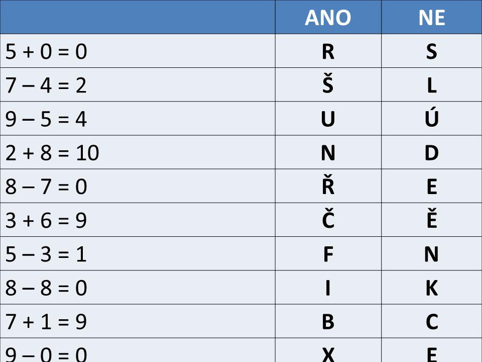 ANONE 5 + 0 = 0RS 7 – 4 = 2ŠL 9 – 5 = 4UÚ 2 + 8 = 10ND 8 – 7 = 0ŘE 3 + 6 = 9ČĚ 5 – 3 = 1FN 8 – 8 = 0IK 7 + 1 = 9BC 9 – 0 = 0XE