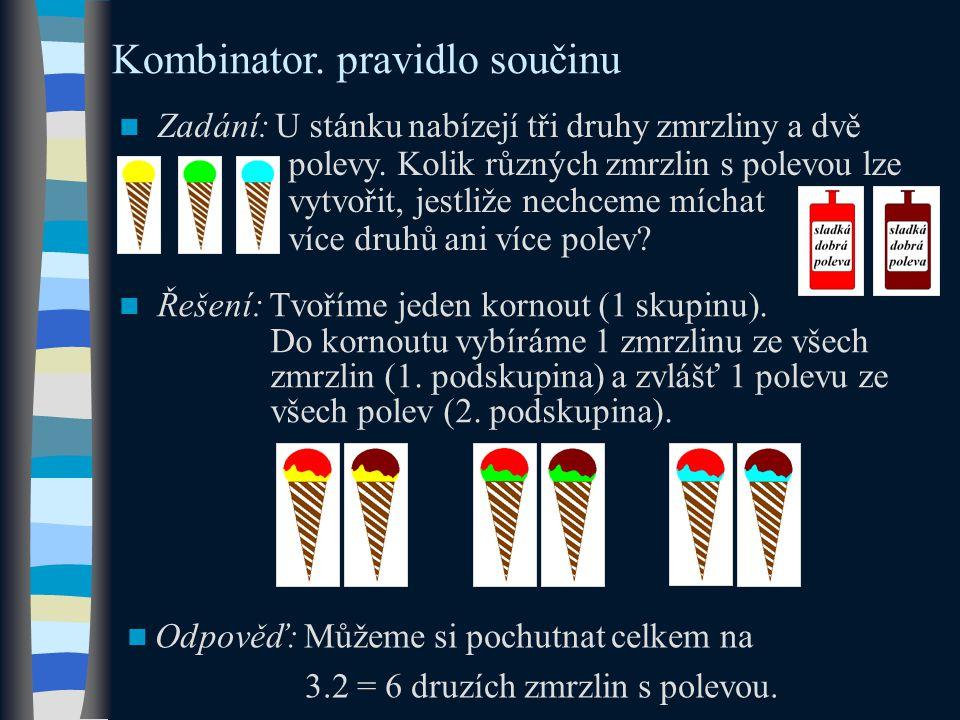 Kombinator. pravidlo součinu Zadání: U stánku nabízejí tři druhy zmrzliny a dvě polevy.
