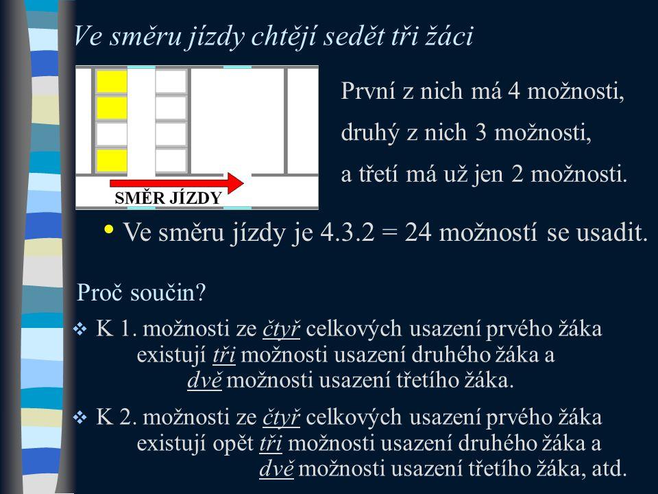 První z nich má 4 možnosti, Ve směru jízdy chtějí sedět tři žáci Ve směru jízdy je 4.3.2 = 24 možností se usadit.