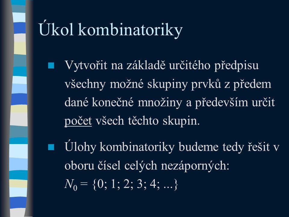Úkol kombinatoriky Vytvořit na základě určitého předpisu všechny možné skupiny prvků z předem dané konečné množiny a především určit počet všech těchto skupin.