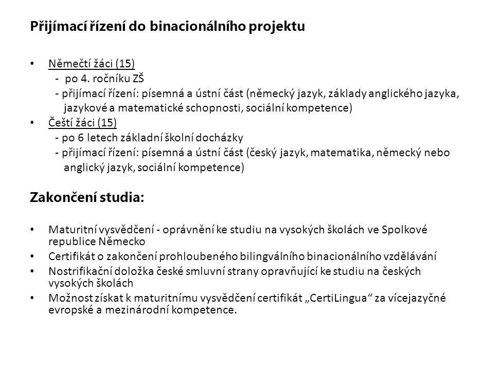 Hodinová dotace binacionálních tříd Společná binacionální výuka v němčině Společná binacionální výuka v češtině Skupinová výuka bilinguálně nebo anglicky Skupinová výuka v příslušné mateřské řeči