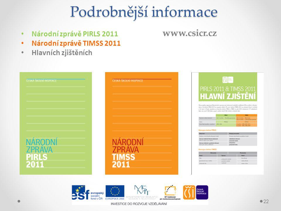 22 Podrobnější informace Národní zprávě PIRLS 2011 Národní zprávě TIMSS 2011 Hlavních zjištěních www.csicr.cz