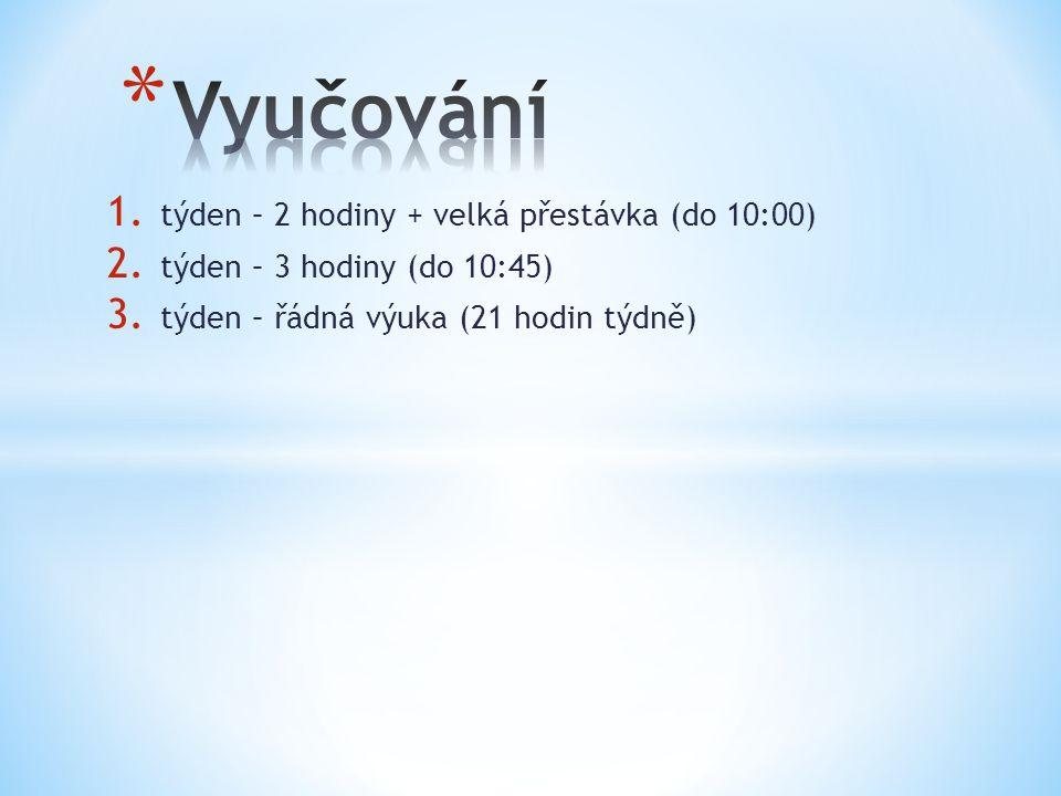 1. týden – 2 hodiny + velká přestávka (do 10:00) 2. týden – 3 hodiny (do 10:45) 3. týden – řádná výuka (21 hodin týdně)