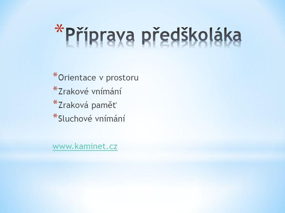 * Orientace v prostoru * Zrakové vnímání * Zraková paměť * Sluchové vnímání www.kaminet.cz