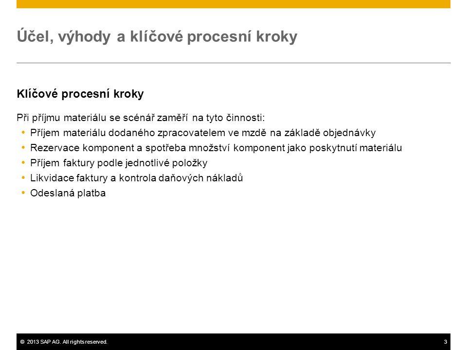 ©2013 SAP AG. All rights reserved.3 Účel, výhody a klíčové procesní kroky Klíčové procesní kroky Při příjmu materiálu se scénář zaměří na tyto činnost