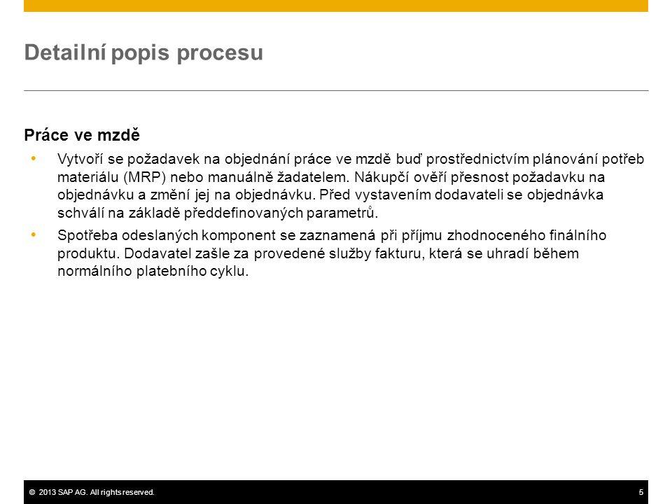 ©2013 SAP AG. All rights reserved.5 Detailní popis procesu Práce ve mzdě  Vytvoří se požadavek na objednání práce ve mzdě buď prostřednictvím plánová