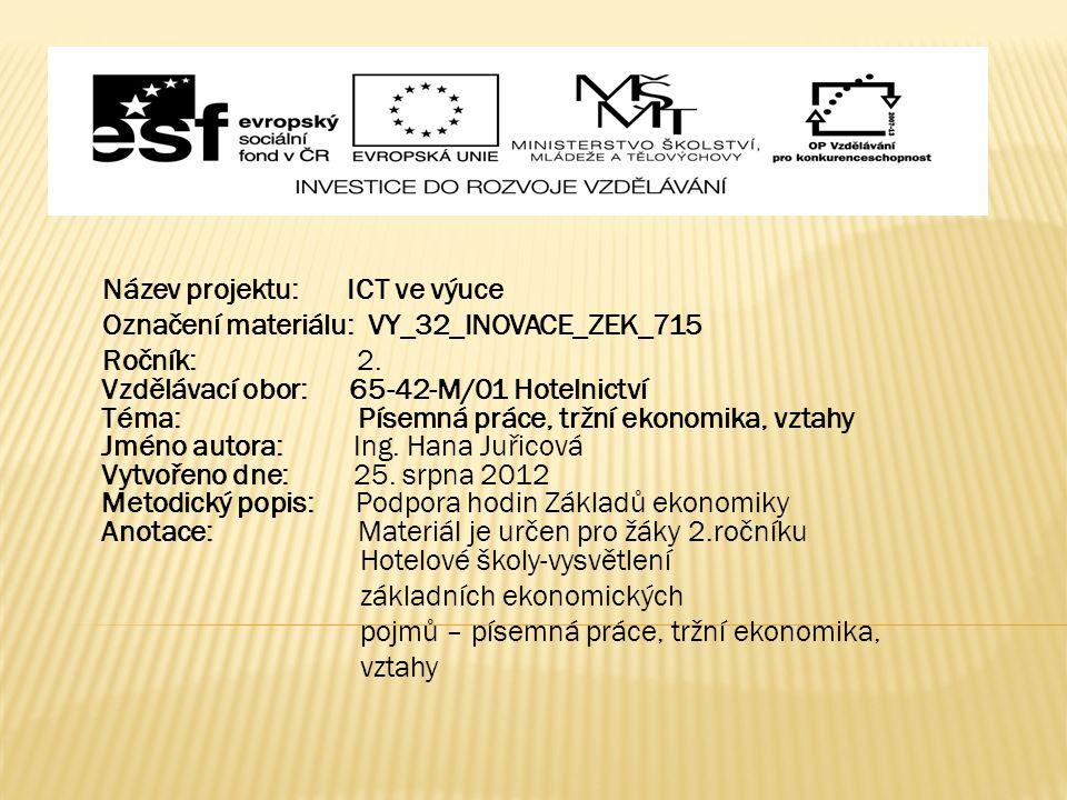 Název projektu: ICT ve výuce Označení materiálu: VY_32_INOVACE_ZEK_715 Ročník: 2.