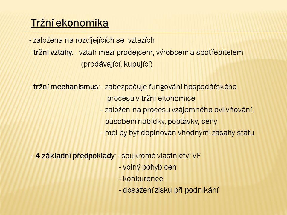 Tržní ekonomika - založena na rozvíjejících se vztazích - tržní vztahy: - vztah mezi prodejcem, výrobcem a spotřebitelem (prodávající, kupující) - tržní mechanismus: - zabezpečuje fungování hospodářského procesu v tržní ekonomice - založen na procesu vzájemného ovlivňování, působení nabídky, poptávky, ceny - měl by být doplňován vhodnými zásahy státu - 4 základní předpoklady: - soukromé vlastnictví VF - volný pohyb cen - konkurence - dosažení zisku při podnikání