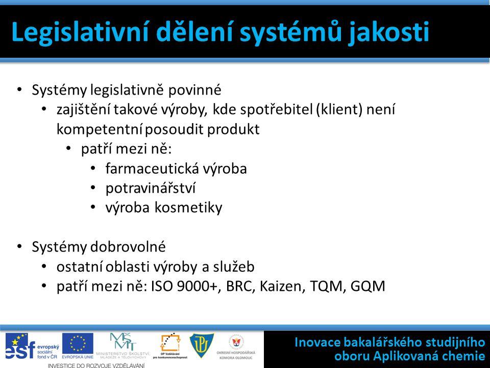 Inovace bakalářského studijního oboru Aplikovaná chemie Legislativní dělení systémů jakosti Systémy legislativně povinné zajištění takové výroby, kde spotřebitel (klient) není kompetentní posoudit produkt patří mezi ně: farmaceutická výroba potravinářství výroba kosmetiky Systémy dobrovolné ostatní oblasti výroby a služeb patří mezi ně: ISO 9000+, BRC, Kaizen, TQM, GQM