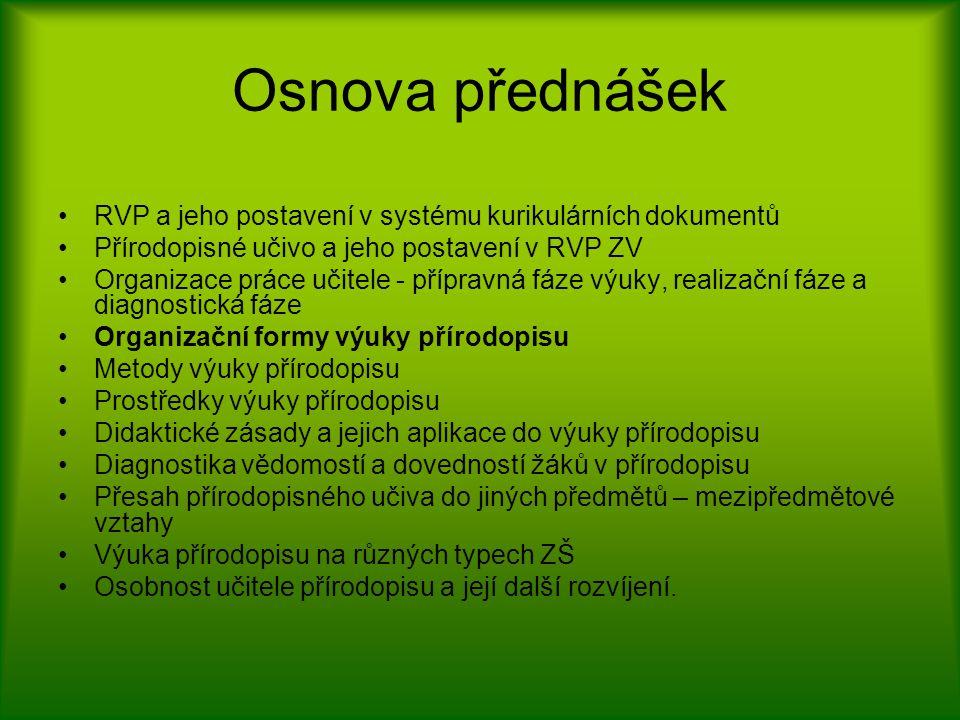 Osnova přednášek RVP a jeho postavení v systému kurikulárních dokumentů Přírodopisné učivo a jeho postavení v RVP ZV Organizace práce učitele - přípra