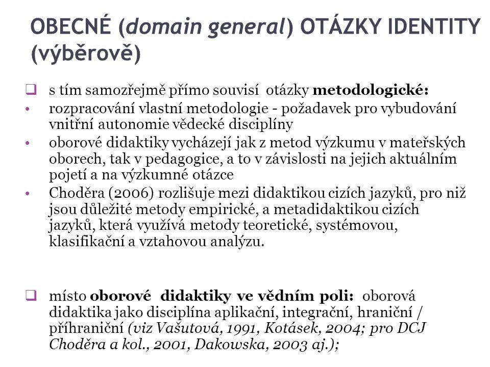 OBECNÉ (domain general) OTÁZKY IDENTITY (výběrově)  s tím samozřejmě přímo souvisí otázky metodologické: rozpracování vlastní metodologie - požadavek