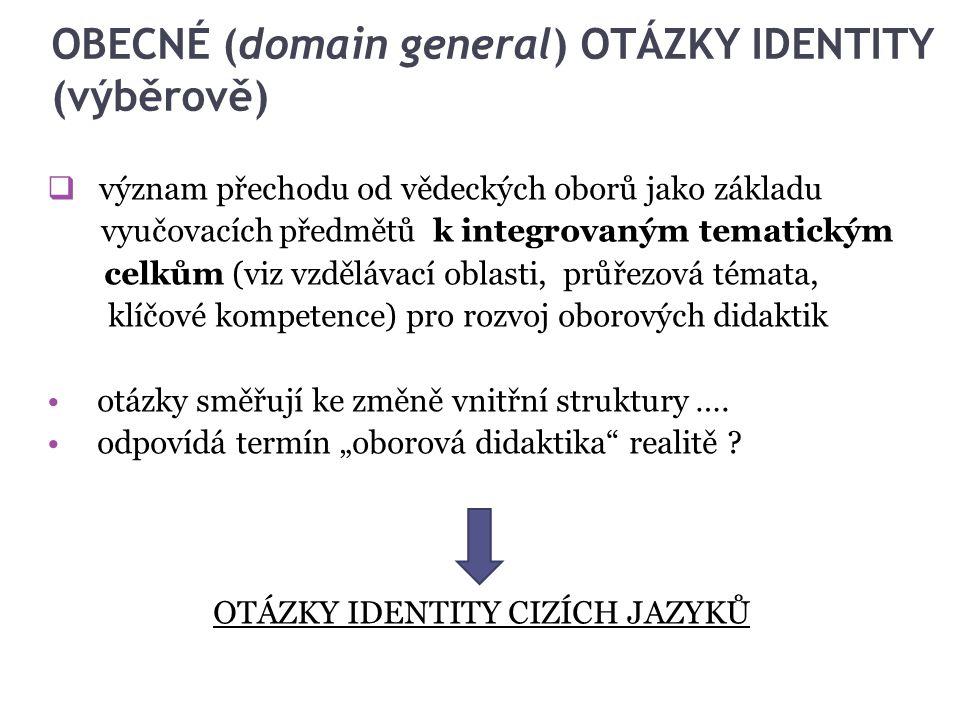 OBECNÉ (domain general) OTÁZKY IDENTITY (výběrově)  význam přechodu od vědeckých oborů jako základu vyučovacích předmětů k integrovaným tematickým ce