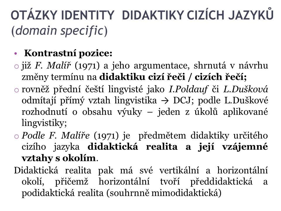 OTÁZKY IDENTITY DIDAKTIKY CIZÍCH JAZYKŮ (domain specific) Kontrastní pozice: o již F. Malíř (1971) a jeho argumentace, shrnutá v návrhu změny termínu