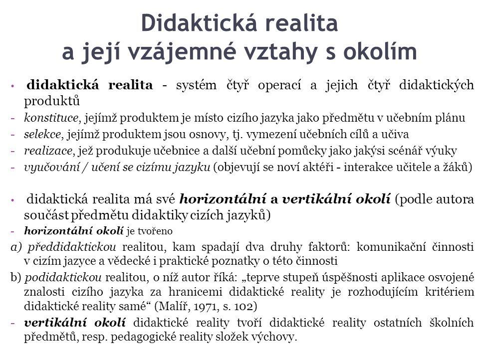 Didaktická realita a její vzájemné vztahy s okolím didaktická realita - systém čtyř operací a jejich čtyř didaktických produktů -konstituce, jejímž pr