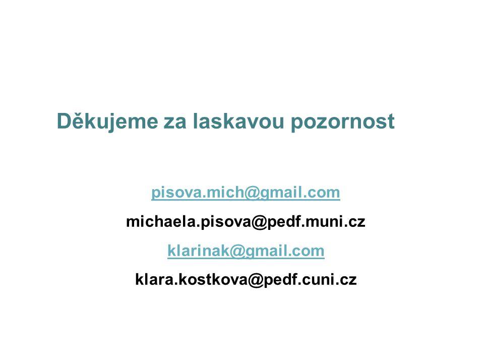 Děkujeme za laskavou pozornost pisova.mich@gmail.com michaela.pisova@pedf.muni.cz klarinak@gmail.com klara.kostkova@pedf.cuni.cz