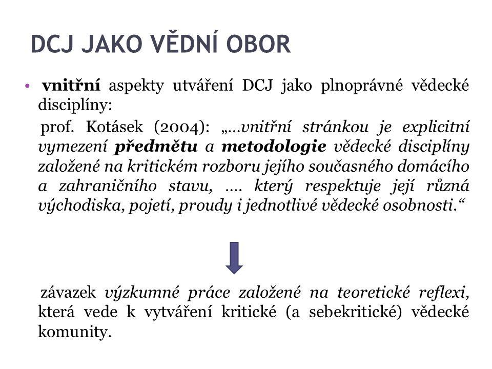 """DCJ JAKO VĚDNÍ OBOR vnitřní aspekty utváření DCJ jako plnoprávné vědecké disciplíny: prof. Kotásek (2004): """"…vnitřní stránkou je explicitní vymezení p"""