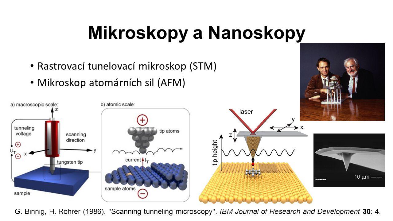 Rastrovací tunelovací mikroskop (STM) Mikroskop atomárních sil (AFM) Mikroskopy a Nanoskopy G.