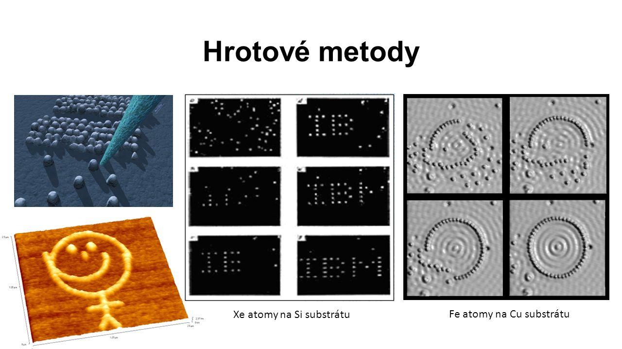 Hrotové metody Fe atomy na Cu substrátu Xe atomy na Si substrátu