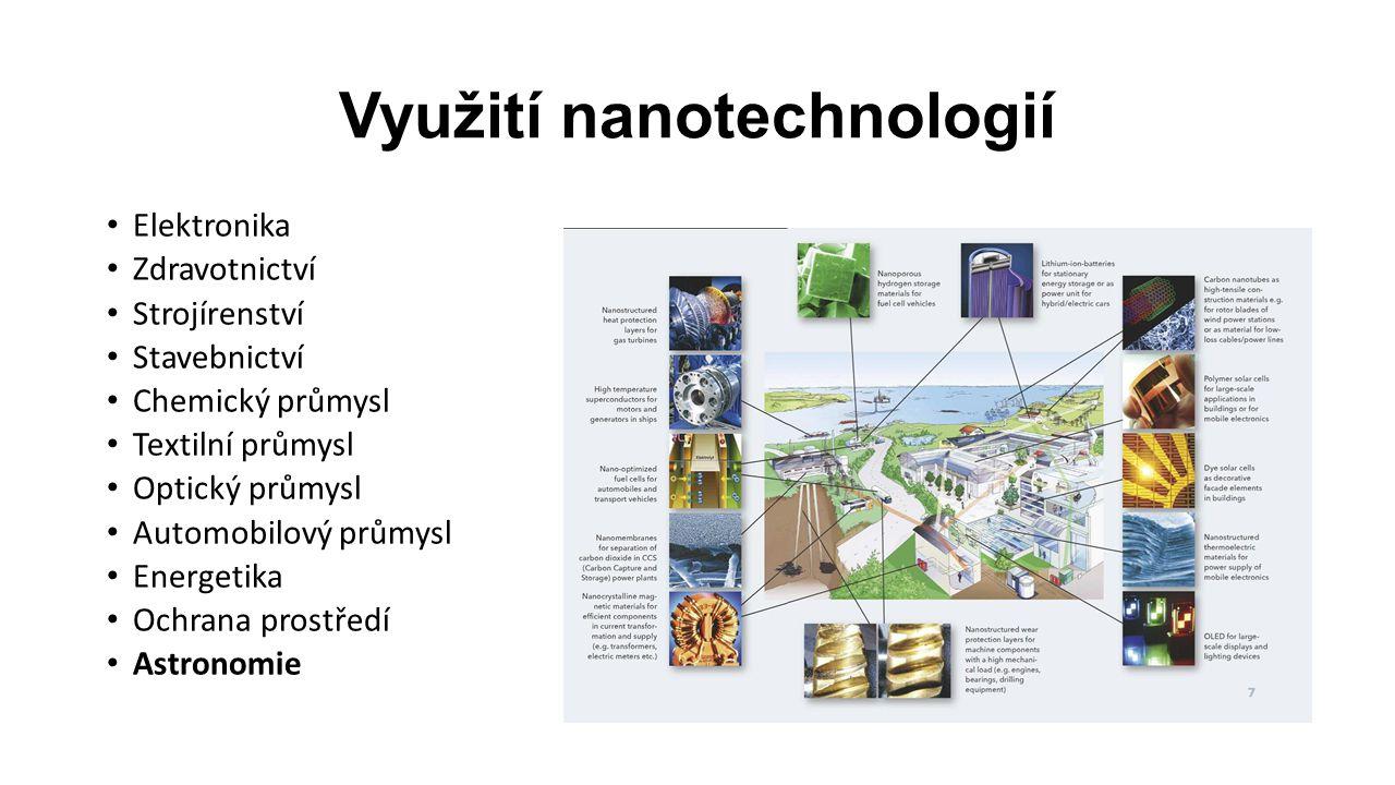 Využití nanotechnologií Elektronika Zdravotnictví Strojírenství Stavebnictví Chemický průmysl Textilní průmysl Optický průmysl Automobilový průmysl Energetika Ochrana prostředí Astronomie