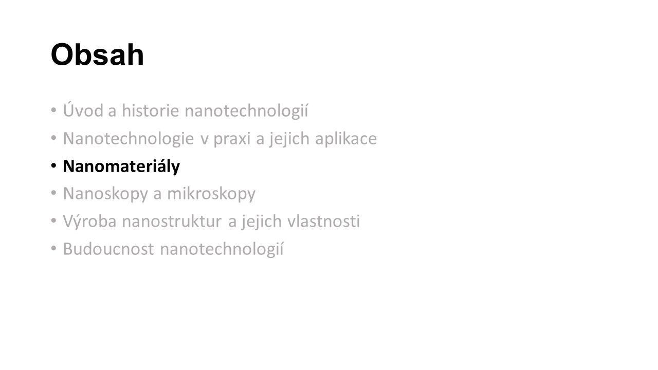 Obsah Úvod a historie nanotechnologií Nanotechnologie v praxi a jejich aplikace Nanomateriály Nanoskopy a mikroskopy Výroba nanostruktur a jejich vlastnosti Budoucnost nanotechnologií