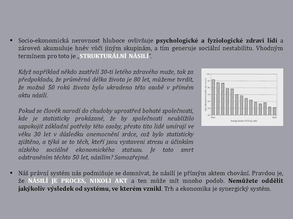  Socio-ekonomická nerovnost hluboce ovlivňuje psychologické a fyziologické zdraví lidí a zároveň akumuluje hněv vůči jiným skupinám, a tím generuje s