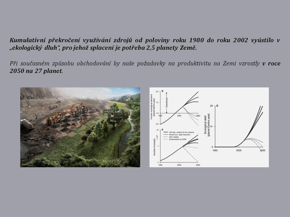 """Kumulativní překročení využívání zdrojů od poloviny roku 1980 do roku 2002 vyústilo v """"ekologický dluh"""", pro jehož splacení je potřeba 2,5 planety Zem"""