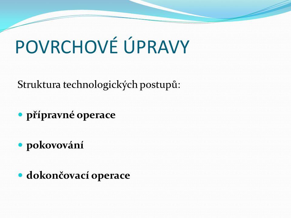 POVRCHOVÉ ÚPRAVY přípravné operace – chemické odmaštění, moření, elektrolytické odmaštění, dekapování aktivace pokovování – ochranné povlaky /Zn, Cd, Sn, Pb/, ozdobné ochranné povlaky /Cu-Ni-Cr, Zn, Ag /, funkční povlaky / Cu, Ni, Cr, Fe, Ag / dokončovací operace – pasivace, chromátování, fosfátování, barvení, leštění