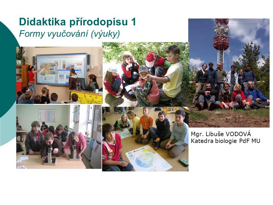 Typické rysy projektové výuky (Kalhous a Obst, 2002) FORMY VÝUKY PŘÍRODOPISU dle sociálního hlediska  je to žákovský projekt  ovlivňují výběr tématu (vztahuje se k aktuálním otázkám a prostředí, ve kterém žáci žijí)  aktivně se zapojují, jsou zainteresováni - pracují na něm rádi (vnitřní motivace)  projekt souvisí s mimoškolní činností  konkrétní výsledky projektu – nejenom poznatky, ale i materiální produkty