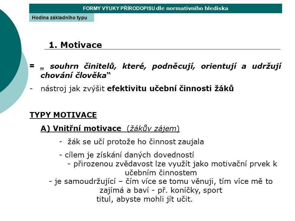 """= """" souhrn činitelů, které, podněcují, orientují a udržují chování člověka"""" -nástroj jak zvýšit efektivitu učební činnosti žáků TYPY MOTIVACE A) Vnitř"""