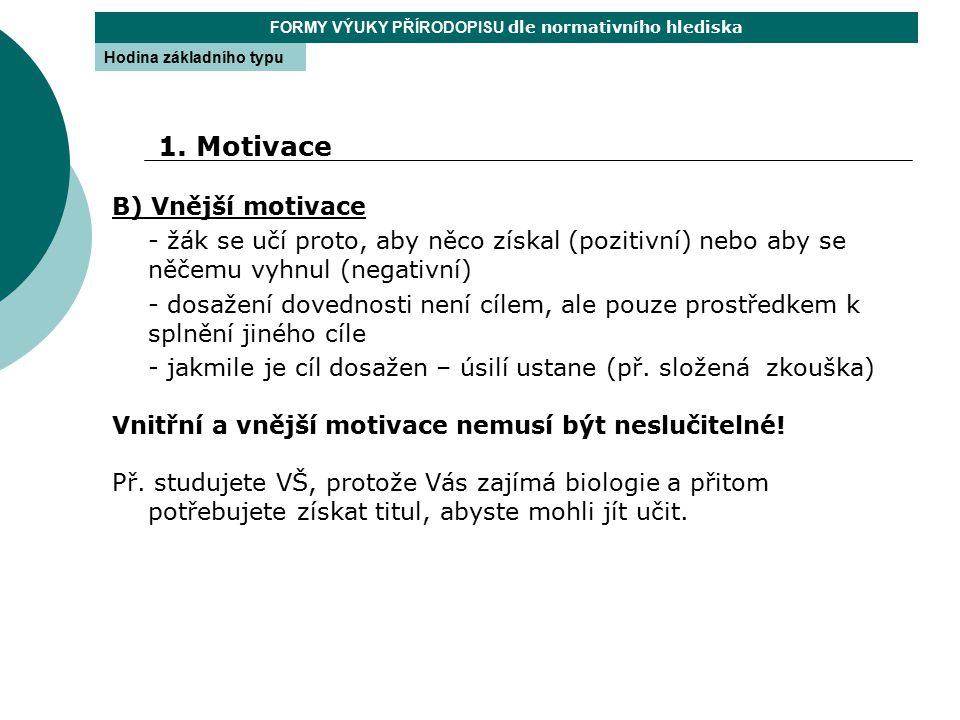B) Vnější motivace - žák se učí proto, aby něco získal (pozitivní) nebo aby se něčemu vyhnul (negativní) - dosažení dovednosti není cílem, ale pouze p
