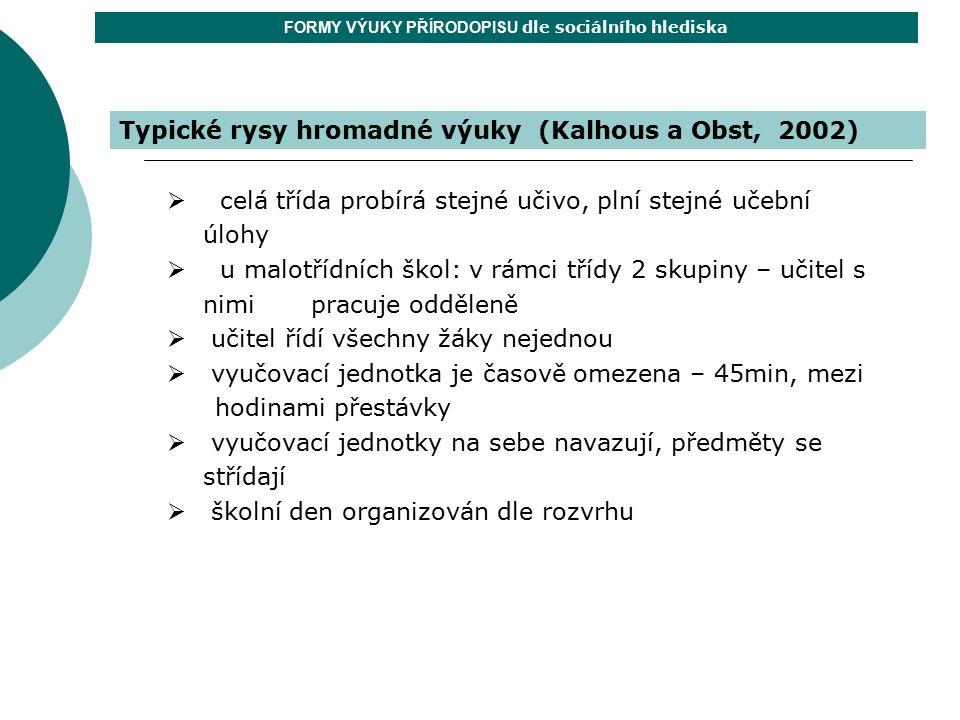 Typické rysy hromadné výuky (Kalhous a Obst, 2002) FORMY VÝUKY PŘÍRODOPISU dle sociálního hlediska  celá třída probírá stejné učivo, plní stejné učeb