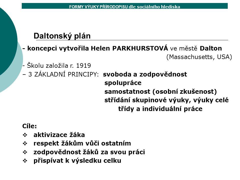 Daltonský plán - koncepci vytvořila Helen PARKHURSTOVÁ ve městě Dalton (Massachusetts, USA) - Školu založila r. 1919 – 3 ZÁKLADNÍ PRINCIPY: svoboda a