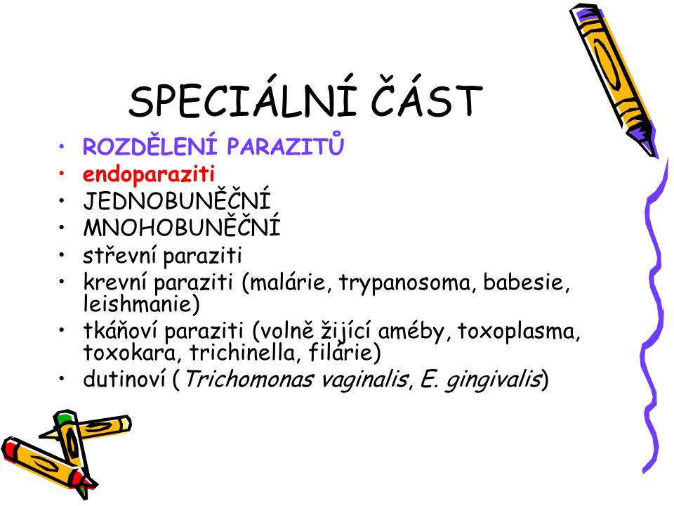 SPECIÁLNÍ ČÁST ROZDĚLENÍ PARAZITŮ endoparaziti JEDNOBUNĚČNÍ MNOHOBUNĚČNÍ střevní paraziti krevní paraziti (malárie, trypanosoma, babesie, leishmanie)
